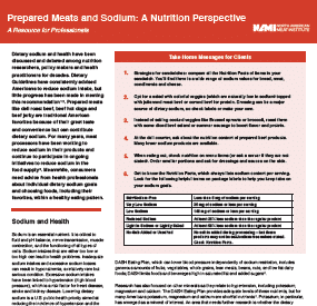 Prepared Meats and Sodium:  A Nutrition Perspective