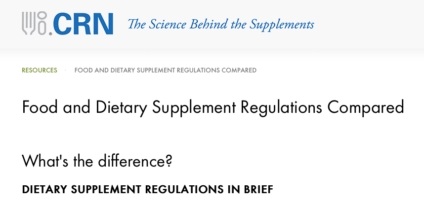 Food and Dietary Supplements: Regulations Compared